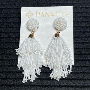 Panacea Seed Beaded Dangle Tassel Stud Earrings